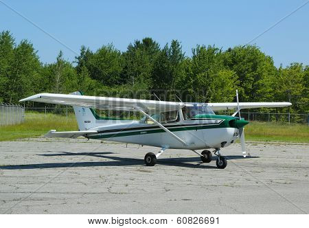 Cessna 172P plane in Hancock County Bar Harbor airport in Maine