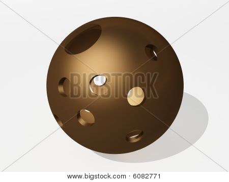 A ball with holes