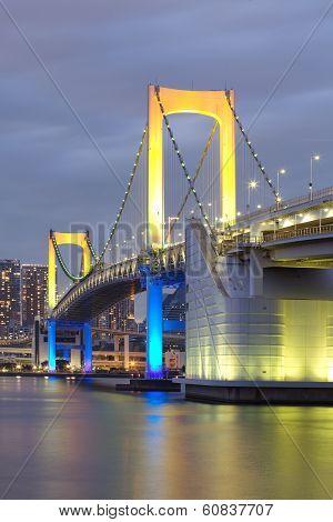 View of Tokyo bay and rainbow bridge at twilight