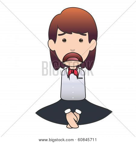 Sad Woman Embarrassed Over White Background. Vector Design