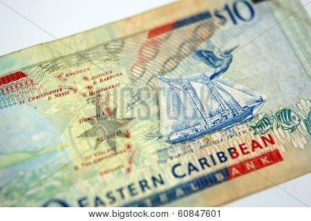 A Ten Dollar Bill From The Eastern Caribbean