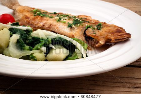 Fried Flounder With Onion, Cabbage And Potato