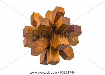 Wooden Assembled Flower Shaped Puzzle Game