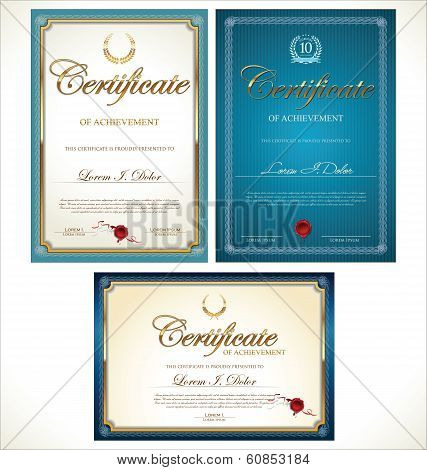 Blue and gold  Certificate Template Collection vector