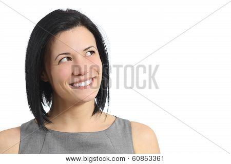 Portrait Of A Happy Smiling Woman Looking Sideways