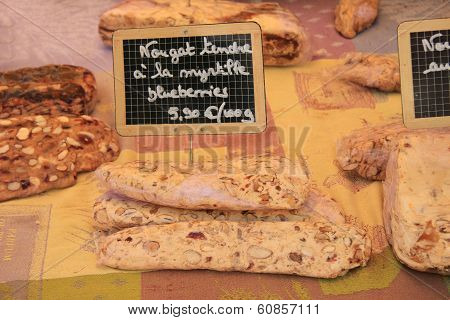 Traditional made nougat at a local market in the Provence France