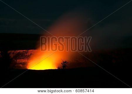Smoking Crater Of Halemaumau Kilauea Volcano In Hawaii Volcanoes National Park On Big Island At Nigh