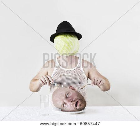 Cabbage Man Eats Head