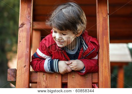 Happy Young Boy On Jungle Gym