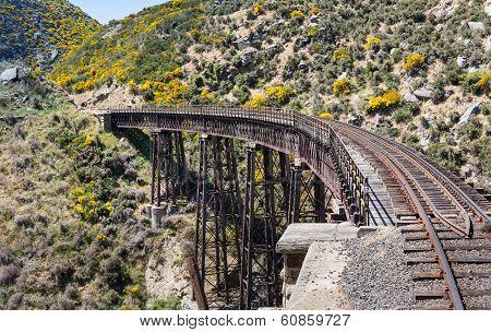 Railway Bridge On Taieri Gorge New Zealand