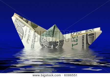 Money Ship In Water. Concept Of Crisis