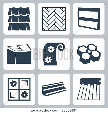 Vector building materials icons set over white poster