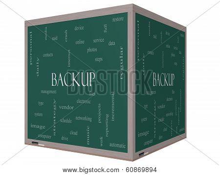 Backup Word Cloud Concept On A 3D Cube Blackboard