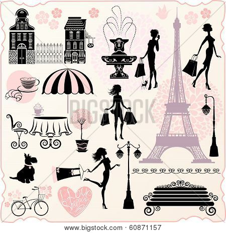 Set For Fashion Or Retail Design - Effel Tower, Houses, Heart With Calligraphic Text I Love Shopping