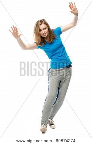 Playful Young Woman Balancing Tilted Sideways