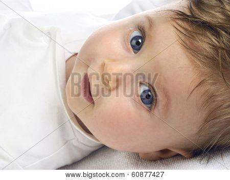 beautiful baby portrait on white