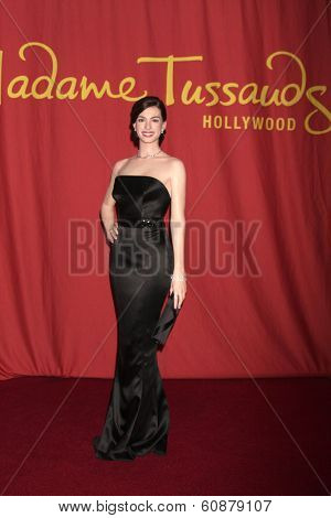 LOS ANGELES - FEB 27:  Anne Hathaway Wax Figure at the Unveiling of Wax Figure by Madame Tussaud's Wax Museum at TCL Chinese 6 Theaters on February 27, 2014 in Los Angeles, CA