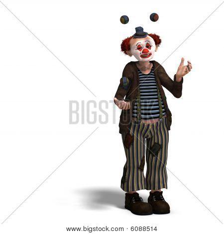 Payaso de circo divertido con muchas emociones