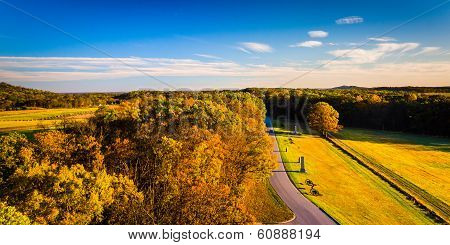 Autumn View Of Battlefields From Longstreet Observation Tower In Gettysburg, Pennsylvania.