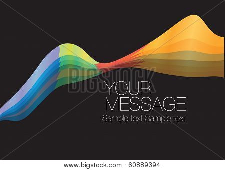 Colorful wave layout design with own area for own text. Vector illustration. poster