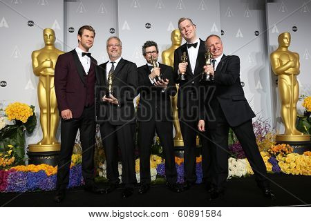 LOS ANGELES - MAR 2:  Chris Hemsworth, Skip Lievsay, Niv Adiri, Christopher Benstead, and Chris Munro,at theAcademy Awards at Dolby Theater, Hollywood & Highland on March 2, 2014 in Los Angeles, CA