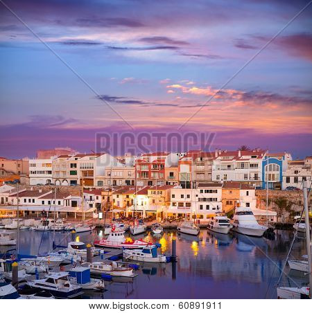 Ciutadella Menorca marina Port sunset with boats and streetlights in Balearic islands poster