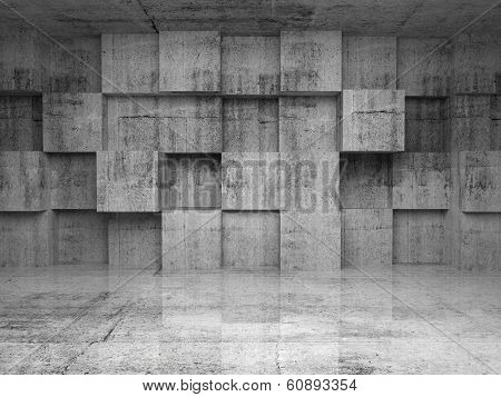 Abstract Empty Concrete Interior With Cubes On The Wall