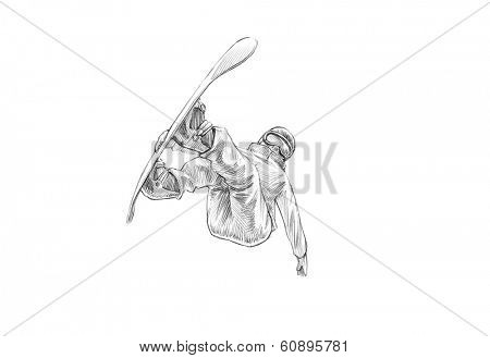 Hand-drawn Sketch, Pencil Illustration of a Snowboarder Mid Air - High Resolution Scan, Decent Copy Space