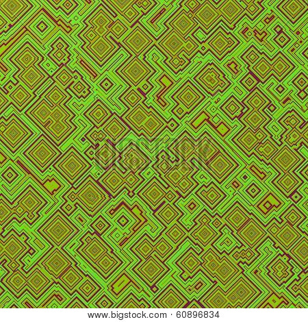 An attractive abstract of red gold and green squares and rectangles poster
