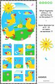 Cute little ducklings visual logic puzzle: What of the 2 - 10 are not the fragments of the picture 1? Plus same task text in Russian. Answer included. poster