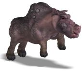 3D rendering of a fantasy boar with huge tusks with clipping path and shadow over white poster