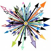 Abstract editable vector design element of arrows poster