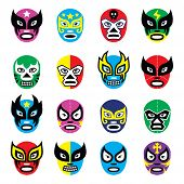 Vector icons set of masks worn during wrestling fights in Mexico isolated on white poster