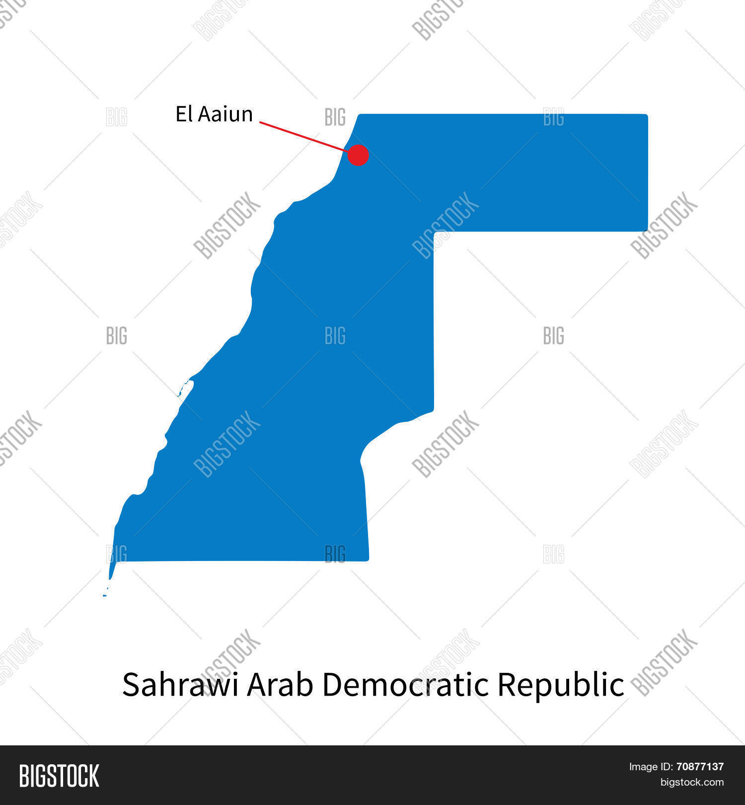 Detailed vector map vector photo free trial bigstock detailed vector map of sahrawi arab democratic republic and capital city el aaiun gumiabroncs Images