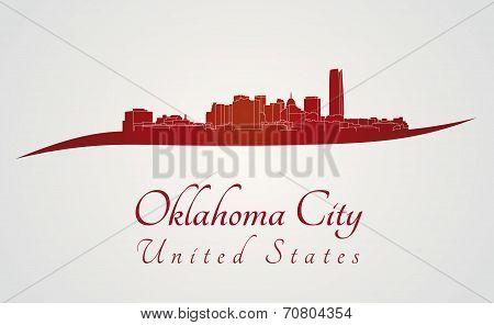 Oklahoma City Skyline In Red