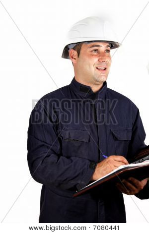 builder taking notes isolate