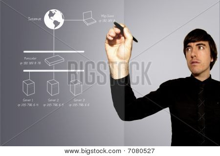 Business Man Drawing Network Diagram On Glass