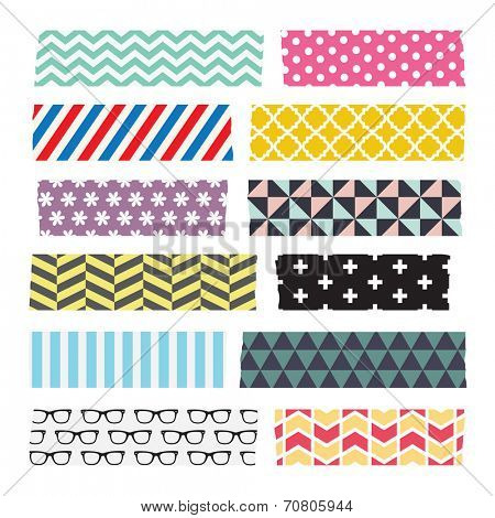 Set of colorful patterned washi tape strips