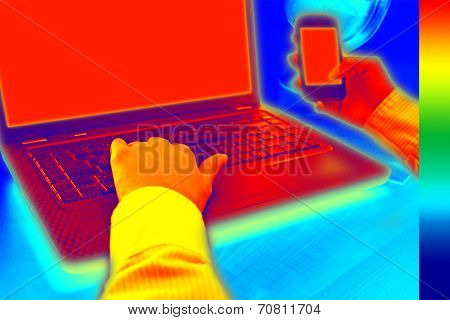 Infrared Thermovision Image Showing Heat In The Office