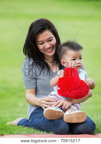 Beautiful Asia Mother And Baby