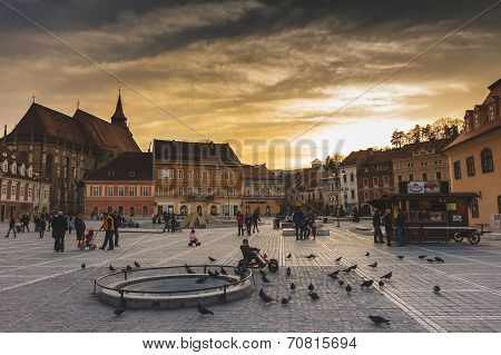 Beautiful sunset in the old town, Brasov