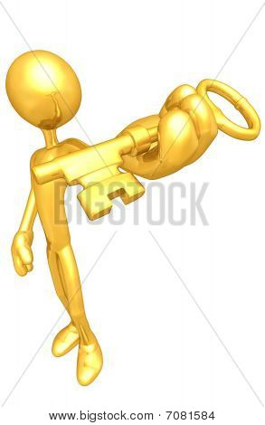 Gold Guy With Gold Key