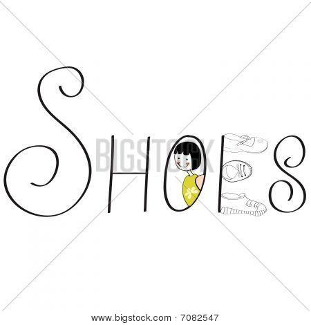 Inscription SHOES.  Fully editable  vector illustration. poster