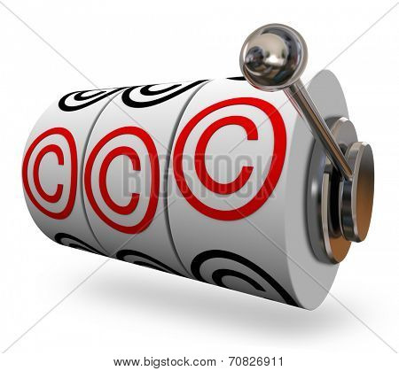 Copyright symbols or letter C on three slot machine wheels illustrating you won legal protection for your intellectual property