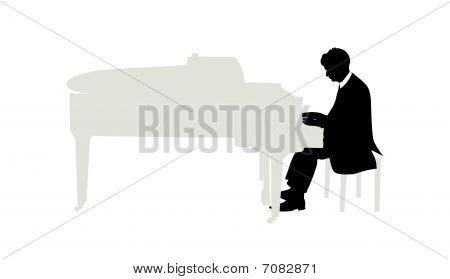 Vector illustration of pianist