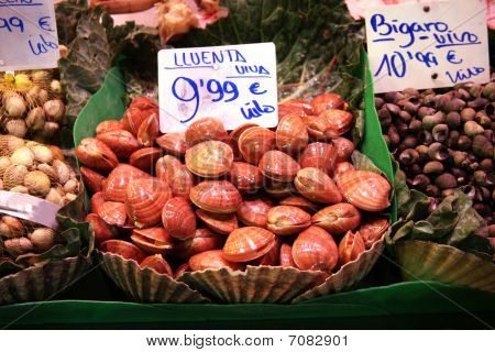 Mussels On Food Market In Basket