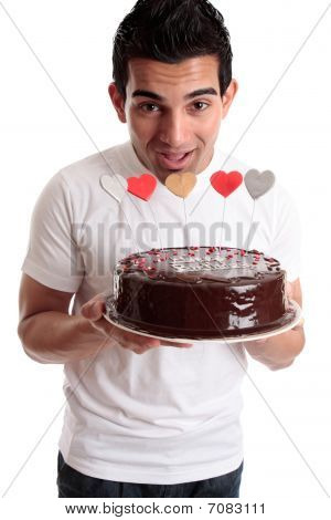 Cheeky Man With A Birthday Cake