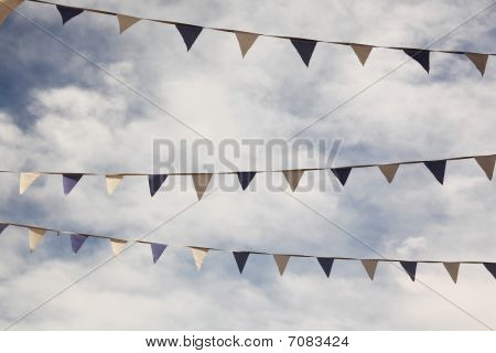 Flags In Front Of Clouded Sky