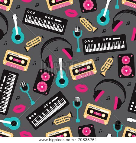 Seamless retro sing and song music instruments and icons theme illustration background pattern in vector