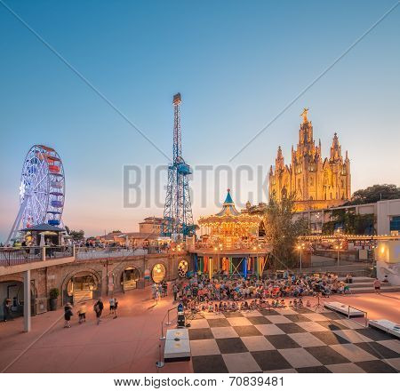 BARCELONA, SPAIN  Amusement Park and Temple at Tibidabo poster
